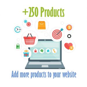 250 extra products ecommerce website